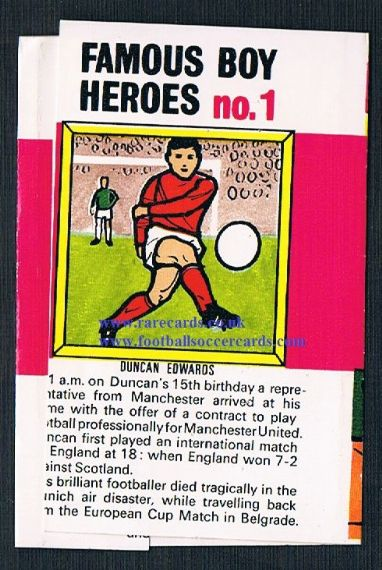1960s Fry's 5 Famous Boy Heroes Duncan Edwards wrapper
